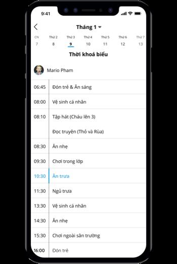 Kindie - Phần mềm quản lý trường mầm non chuyên nghiệp - Thời khóa biểu